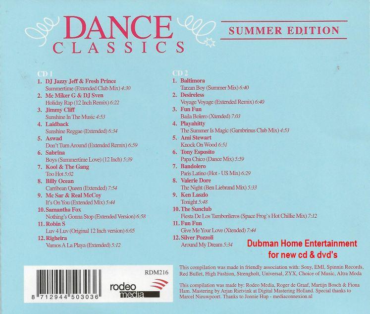 Dance classics summer edition 2 cd dubman home for Classic house cd