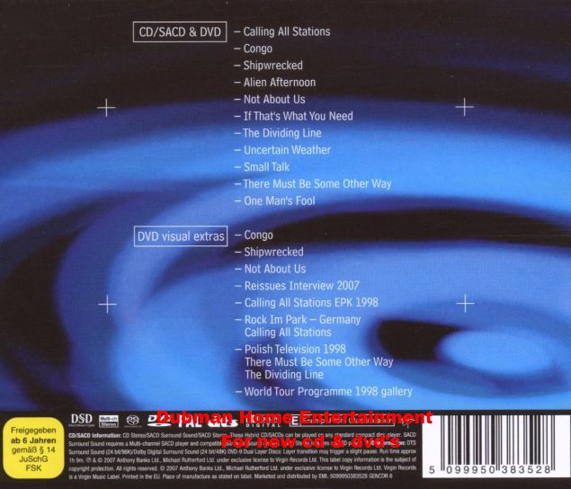 Genesis - Calling All Stations Cd / Sacd + DVD - Dubman Home
